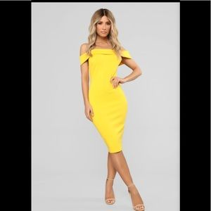 Chantal Off Shoulder Fashion Nova Yellow Dress